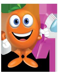 Orange holding tooth brush